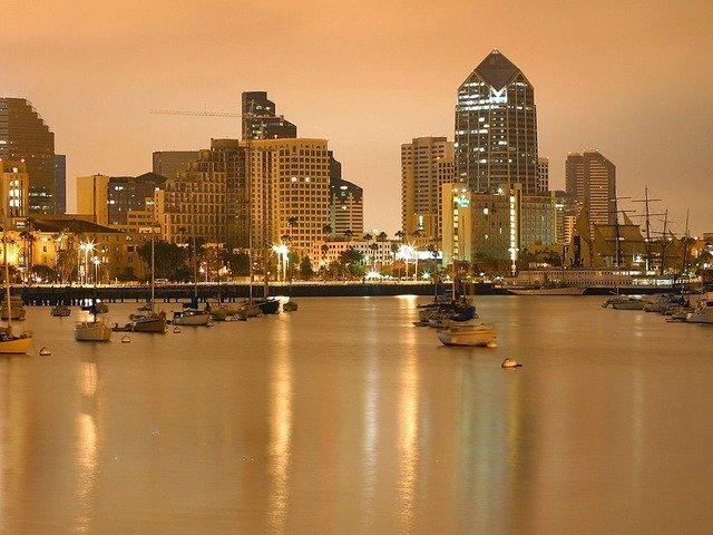the san diego skyline at sunset, one of the best spring break destinations in the us