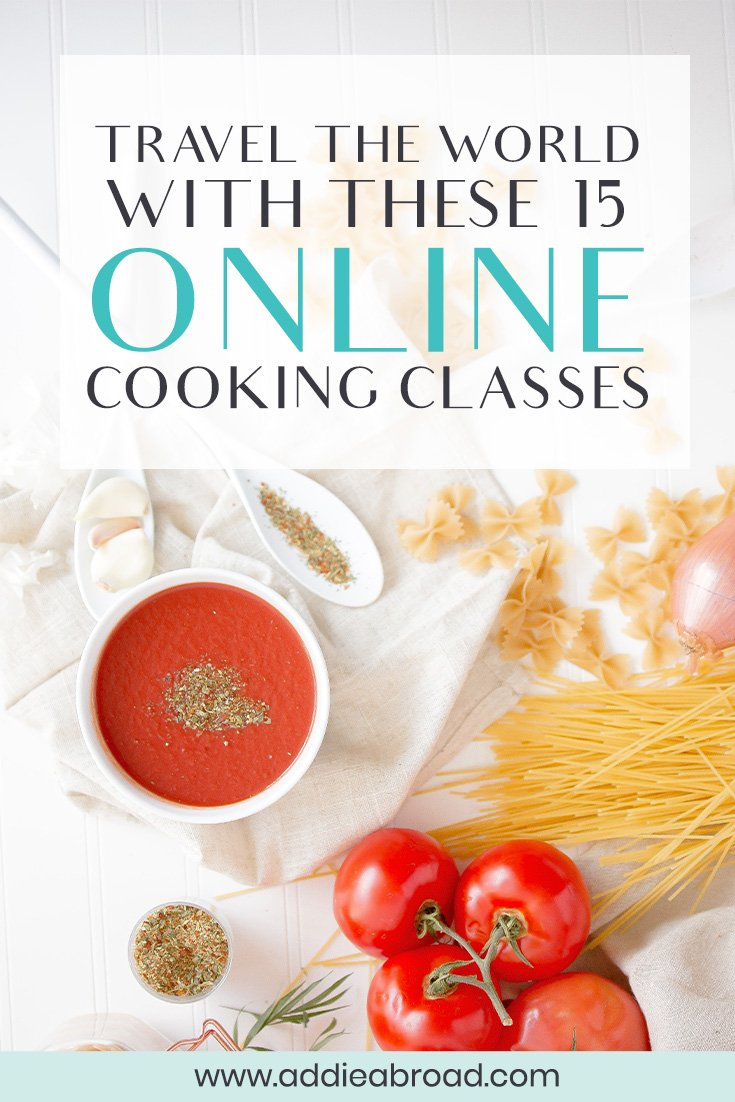 Itching to travel? Travel through your tastebuds while learning how to cook delicious food in these 15 online cooking classes! Make pasta in Italy, Paella in Spain, Ceviche in Peru, and more! #travel #onlineclass