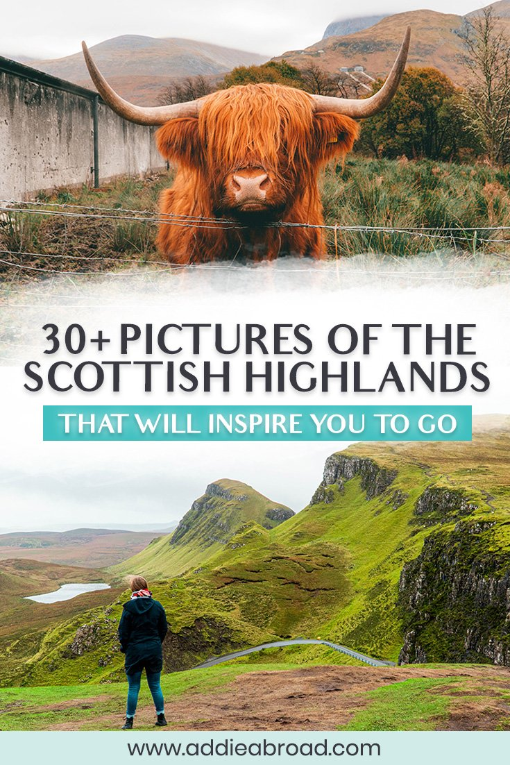Dreaming of traveling to Scotland? These 30+ pictures of the Scottish Highlands will have you buying a plane ticket the second you can. Travel to the Isle of Skye, Glen Coe, Loch Ness, Aviemore, and more through this Scotland travel photography. You might even get to see a few hairy coos! #scotland