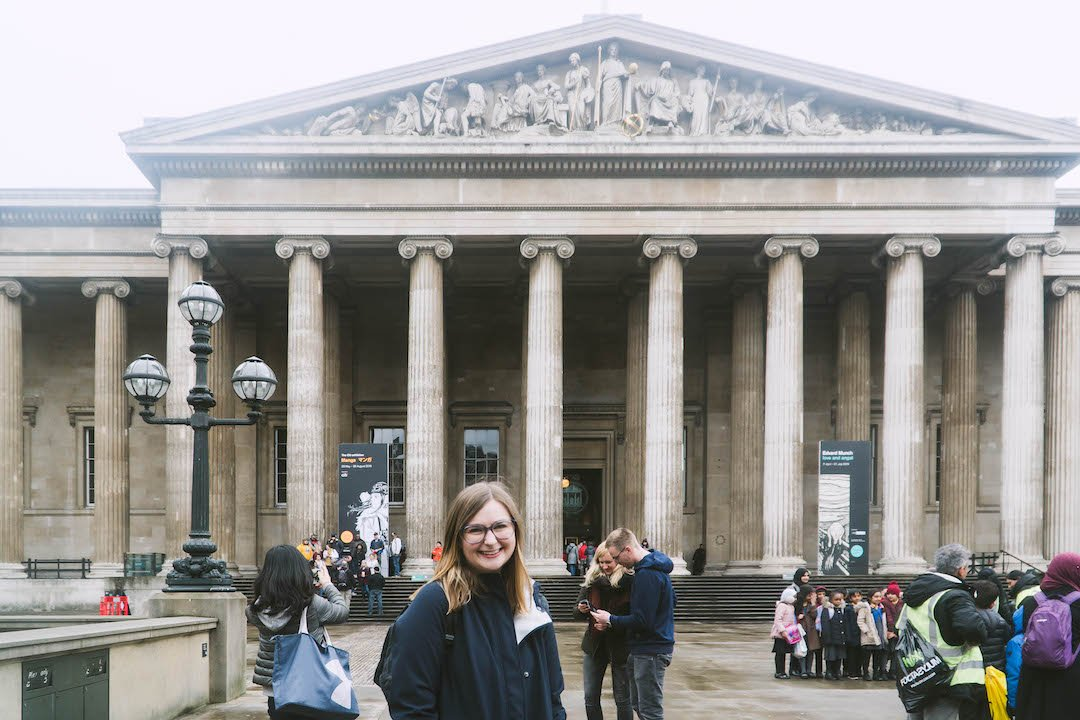 addie standing in front of the british museum