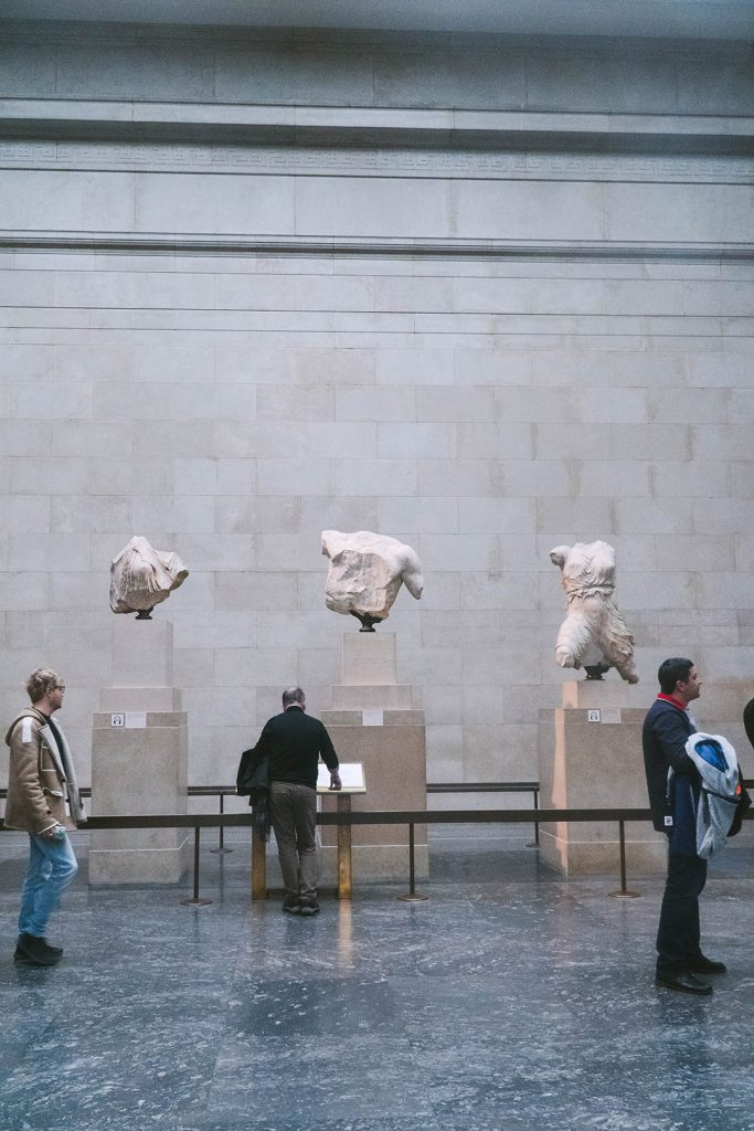 partial statues from the parthenon at the british museum