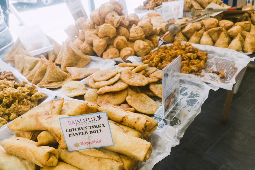 samosa and more indian food - a food tour is great for a girls weekend in london!