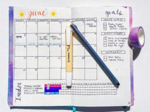 a june calendar in a bullet journal