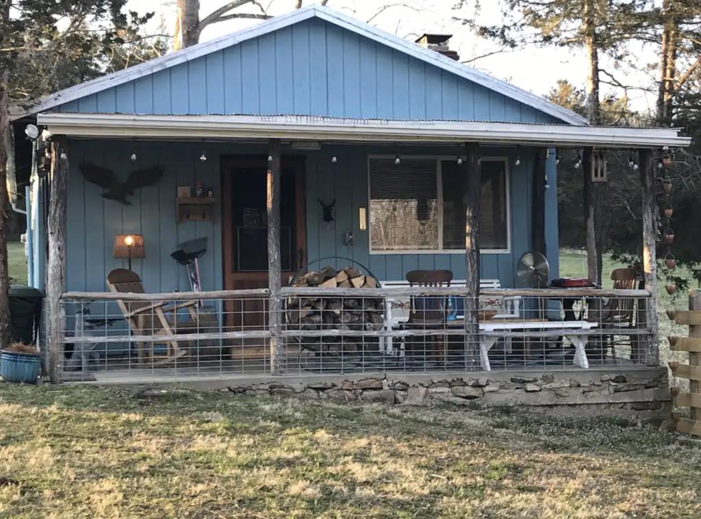a dusty blue shenandoah national park cabin